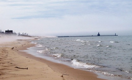 Benton Harbor's beautiful beach on Lake Michigan, located at Jean Klock Park, now surrounded by luxury condos and a world-class golf course.