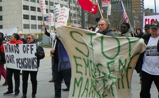 May Day protesters take the streets to stop Emergency Management of Detroit May 1, 2014.