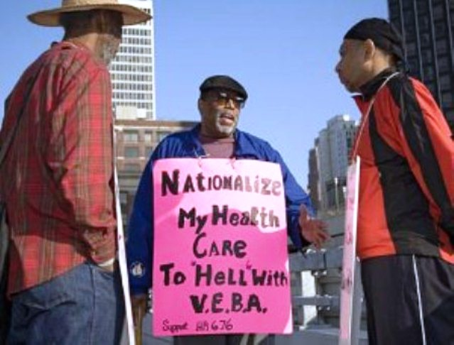 The late, world-renowned General Baker, a UAW retiree, protests the use of VEBA's in the auto industry.