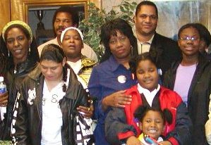 Mailauni Williams is at bottom left in white dress with her mother Lennette Williams behind her in this earlier photo of members of the Original Detroit Coalition against Police Brutality. Arnetta Grable (center), Cornell Squires (behind her) and Arnetta Grable, Jr. were among those in court to support the WIlliams family June 13.