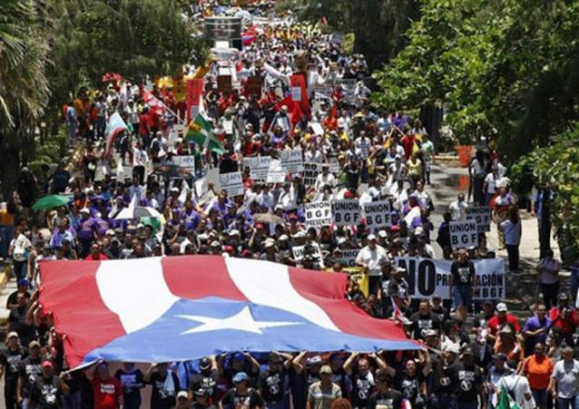 Mass protest in Puerto Rico during 2009 general strike.