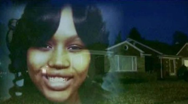 Renisha McBride's photo superimposed on Theodore Wafer's house, where she was shotgunned to death.