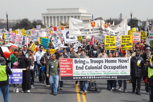 Protest against U.S. wars, held on the sixth anniversary of the U.S. war on Iraq.
