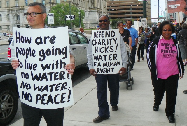 First of Freedom Fridays protests outside Detroit Water Board against massive water shut-offs in Detroit. Marchers call for defense for Charity Hicks, who spent two days in concentration camp conditions at the Mound Rd. prison for protesting shut-offs of her neighbors.