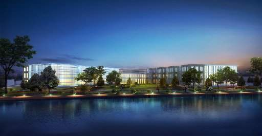 $85 million Whirlpool headquarters in Benton Harbor on prime riverfront property.