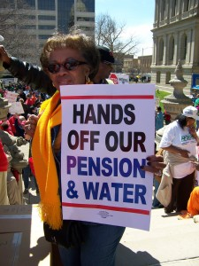 Detroit protester at mass rally against PA 4 in Lansing, April 13, 2011