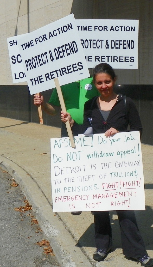Jean Vortkamp at protest outside AFSCME HQ July 31, 2014.