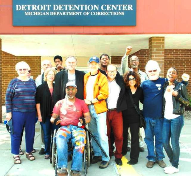 Arrestees after release outside Detroit Detention Center at Mound Road Prison. Photo: Demeeko Williams