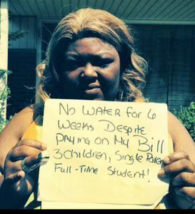 Detroit mother without water.