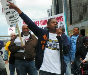 Demeeko Williams during May Day protest against bankruptcy.