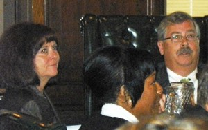 DWSD Director Sue McCormick (l) .and BOWC chair James Fausone, Sept. 17, 2012