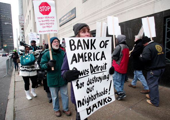 Protesters outside Detroit bankruptcy court.