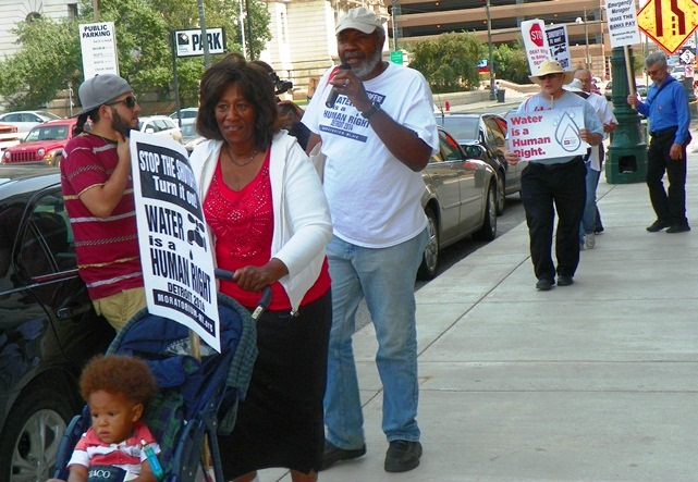 Freedom Fridays protesters outside the Water Board building in downtown Detroit Aug. 15, 2014.