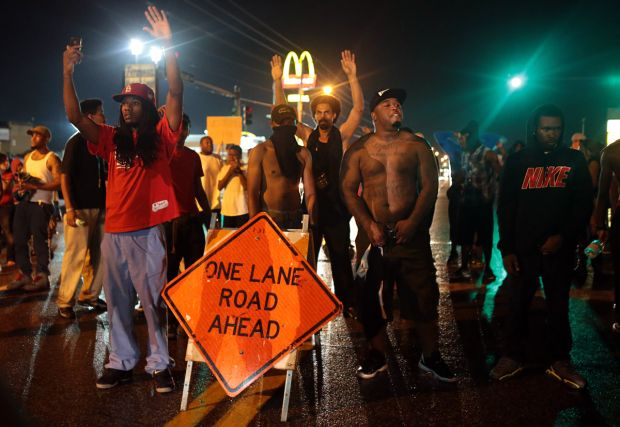 Ferguson protesters take the streets Aug. 15.