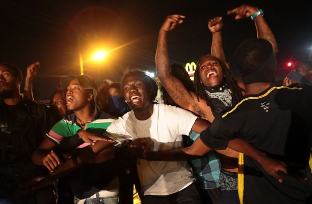 Angry youth among Ferguson protesters August 15.