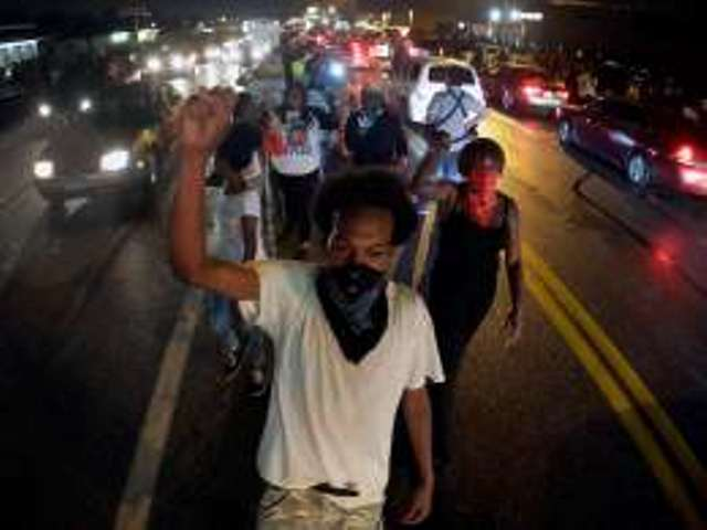 Ferguson protesters on the march August 15.