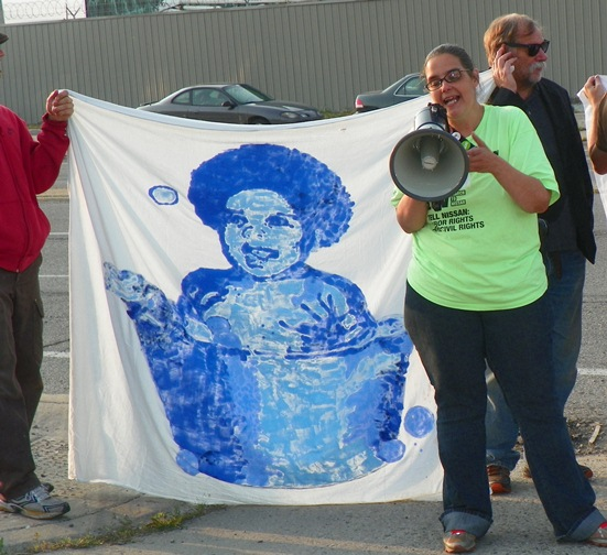 Valerie Jean speaks at Homrich blockade July 18, 2014.