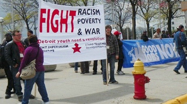 The authors of this report stated they didn't have solutions, but protesters at May Day march in downtown Detroit offered theirs.