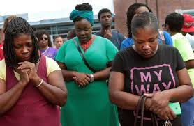 Sunday vigil at site of Michael Brown's killing.
