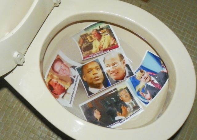 Flush water shutoff criminals Kevyn Orr and Mike Duggan (center) and (clockwise) Judges Rosen, Rhodes, Roger Homrich, Gov Rick Snyder, BOWC chair Walter Fausone, DWSD Director Sue McCormick, down the toilet of history.