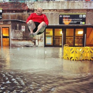Toronto Mayor Rob Ford superimposed over photo of Union Station flooding in Toronto.
