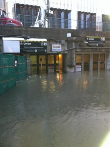 Flooding of Union Station in Toronto subway system in 2011. Raw sewage backed up into the subways and residential basements as EMA supervised sewage plants.