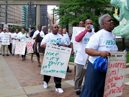 Union members demand jobs for Detroit youth, not contractors, during May 27, 2010 protest.
