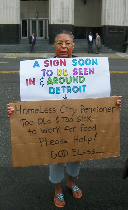 Protester describes future plight of Detroit city retirees.