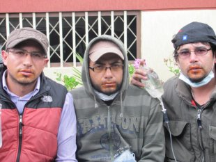 GM Colombia workers on hunger strike in 2012, with mouths sewed shut.