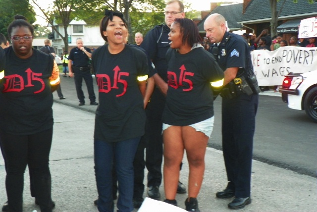 Arrested women continued chanting.