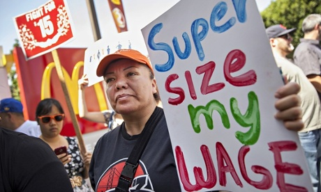 McDonald's workers demand supersize of wages.