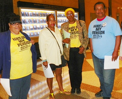 Detroit retirees (l to r) Belinda Myers Florence, Laverne Holloway, Cecily McClellan and Bill Smith discuss ramifications of GLWA plan after being barred from press conference.