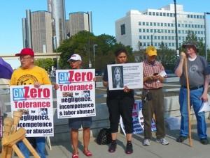 Protesters demand Zero Tolerance for GM anti-labor practices.