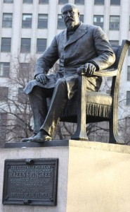 "Statue of former Detroit Mayor Hazen Pingree in Grand Circus Park. Plaque below quotes Pingree: ""Beware the power of the private corporations."""