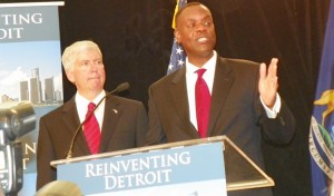 Michigan Gov. Rick Snyder and Detroit EM Kevyn Orr announce filing of Detroit bankruptcy July 17, 2014.