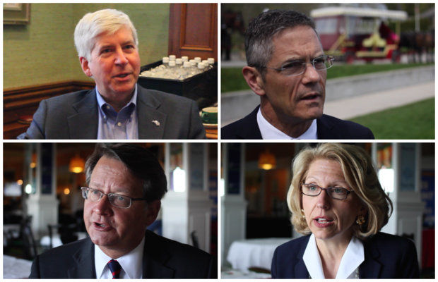 Top: Rick Snyder (R), Mark Schauer (D) running for governor; bottom: Gary Peters (D) Terri Lynn Land (R) running for U.S. Senate