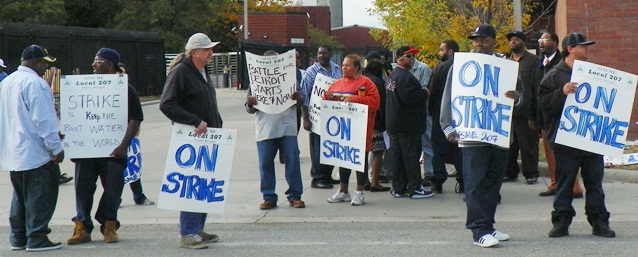 "WWTP workers struck Sept. 30, 2012, declaring on sign, ""The battle for Detroit begins here and now."" The strike was sabotaged by top leaders of AFSCME Council 25; now they are left with the theft of DWSD. Most DWSD workers are Black."