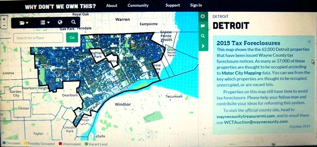 DETROIT FACES 32,000 TAX FORECLOSURES OF OCCUPIED HOMES IN 2015.