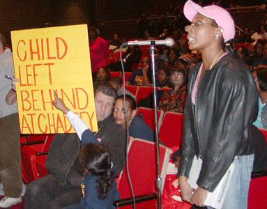 Student of Detroit historic multi-cultural Chadsey High School speaks at school board meeting against Chadsey closure March 10, 2005. Despite repeated walk-outs by Chadsey students, the school closed anyway.