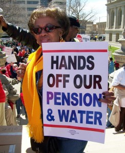 Detroiter at mass demonstration against PA 4 April 13, 2011 in Lansing, MI