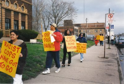 With Cornell Squires (center) leading, the DCAPB protested his beating and the frame-ups of his son and cousins, along with other brutality on the southwest side,