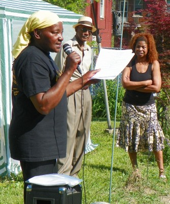 "Agnes Hitchcock speaks at last year's ""Blackinaw Island"" convention outside her north end home in Detroit."