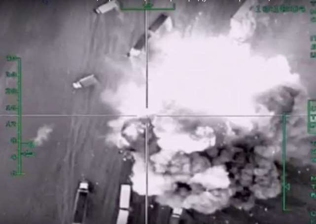 AP Photo/Russian Defense Ministry Press Service In this photo made from the footage taken from Russian Defense Ministry official web site on Friday, Dec. 4, 2015 an aerial image of what they purport shows an airstrike.