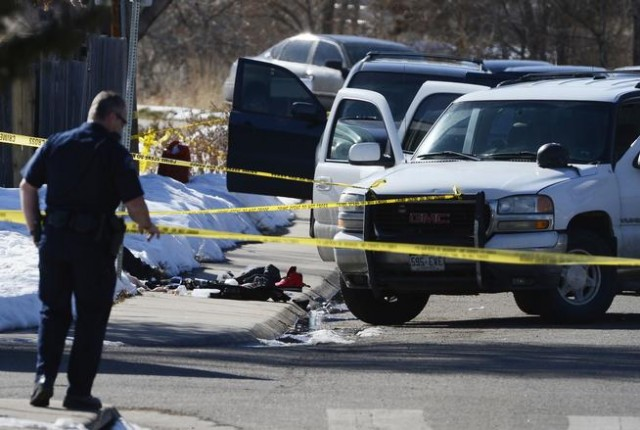 AURORA, CO - MARCH 06: Scene of an Aurora Police officer involved shooting near 12th Ave and Memphis St. March 06, 2015. (Photo by Andy Cross/The Denver Post)