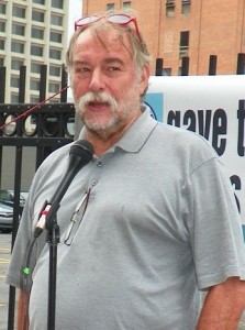 Rev. Bill Wylie-Kellerman speaking at bankruptcy protest Sept. 2, 2014.