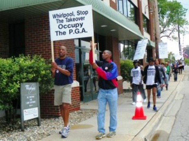 Benton Harbor youth protest Whirlpool during 2012 PGA.