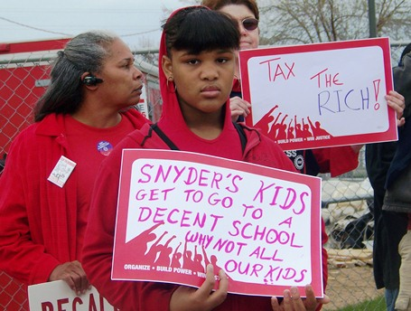 Benton Harbor child participates in protest May 7, 2011.