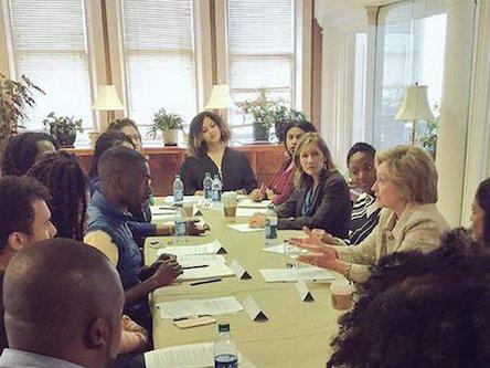 Members of BLM national steering committee meeting with Democratic presidential candidate Hillary Clinton.