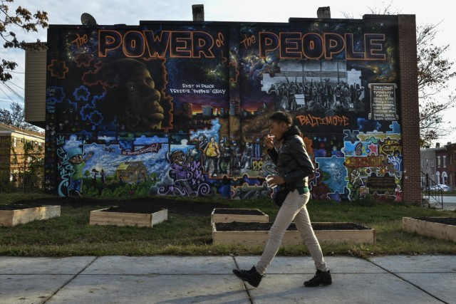 Baltimore mural after fiery rebellions in wake of police killing of Freddie Gray. Baltimores