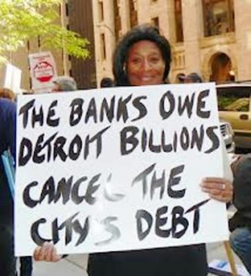 Linda Willis at protest in Detroit, 2012